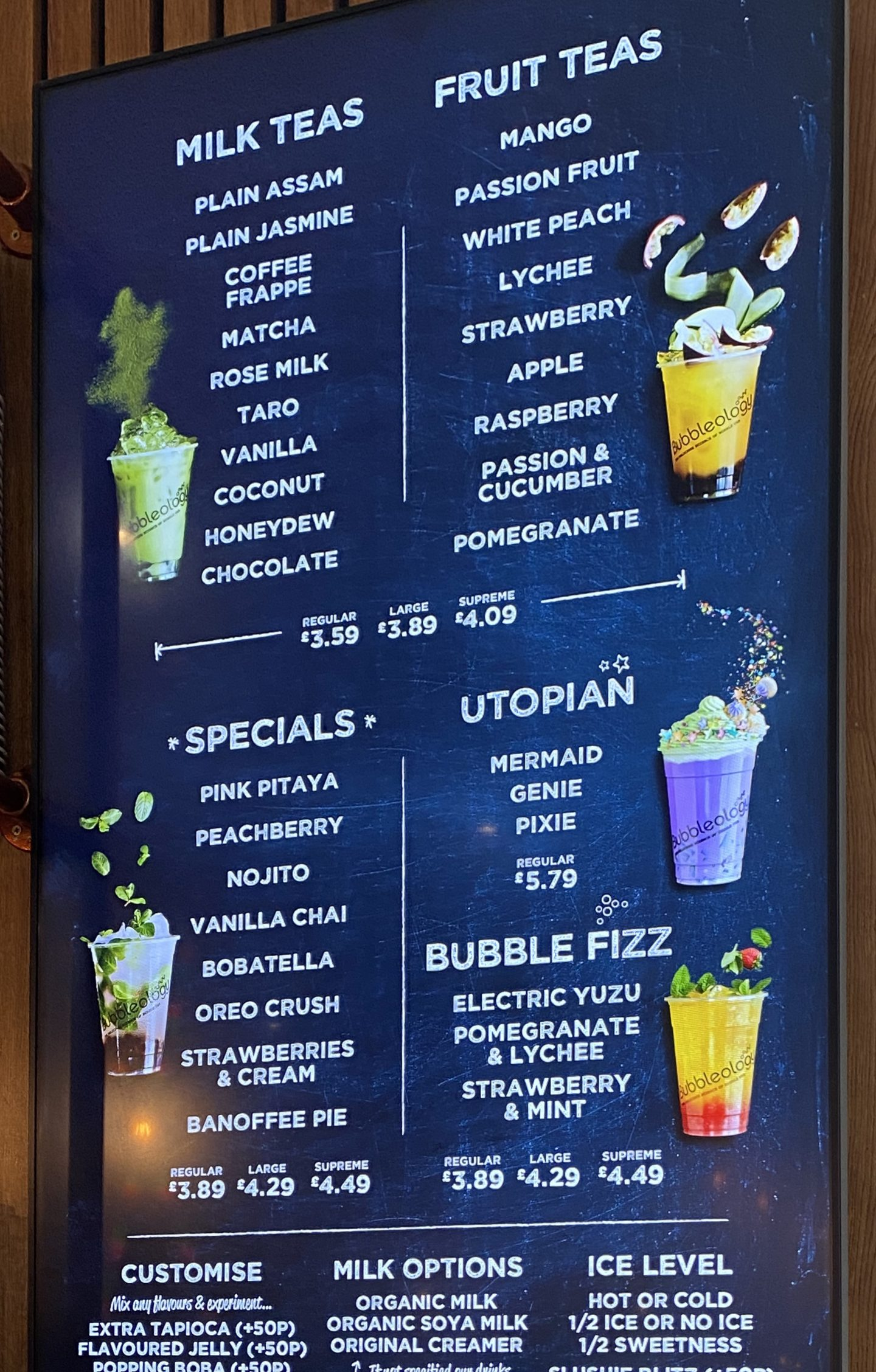 Bubbleology Menu